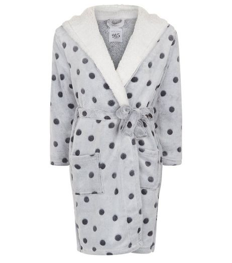 Teens Grey Spot Print Borg Lined Robe | New Look