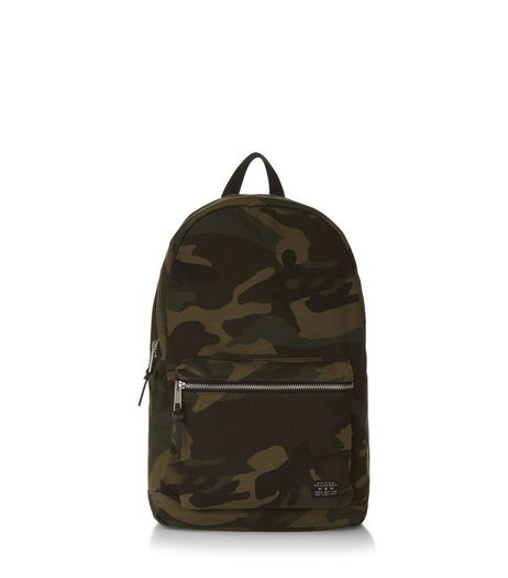 Khaki Camo Print Backpack  | New Look