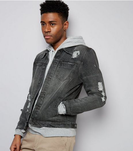 Grey Ripped Denim Jacket | New Look