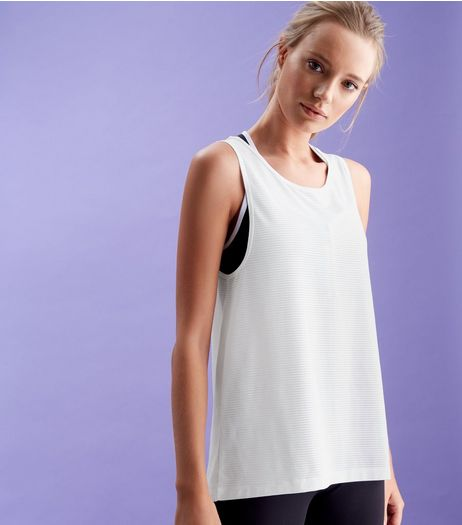 White Sleeveless Open Back Sports Top  | New Look