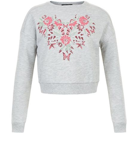 Girls Grey Floral Embroidered Sweater | New Look