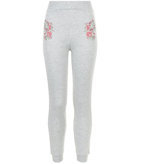 Girls Grey Floral Embroidered Joggers | New Look