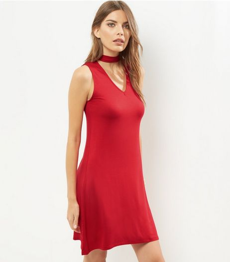 Red Choker Neck Sleeveless Swing Dress | New Look