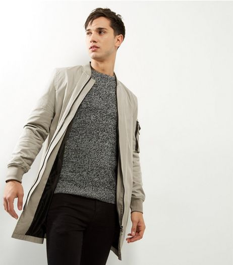 Stone Longline Bomber Jacket | New Look