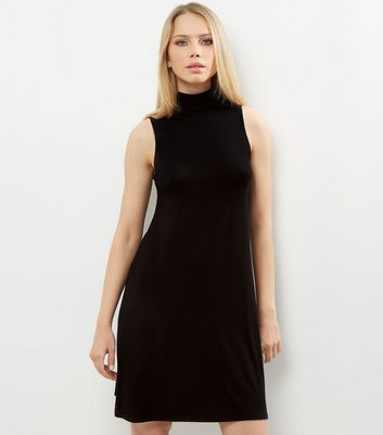 Black Funnel Neck Sleeveless Swing Dress