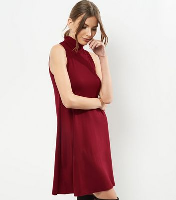 Burgundy Funnel Neck Sleeveless Swing Dress