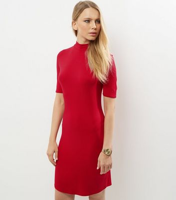 Red Funnel Neck Curve Hem Bodycon Dress