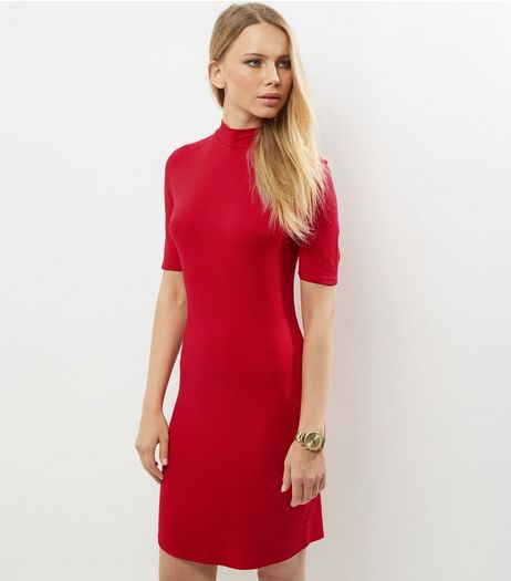 Red Funnel Neck Curve Hem Bodycon Dress | New Look