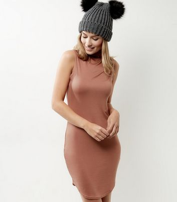 Peach Funnel Neck Curve Hem Bodycon Dress