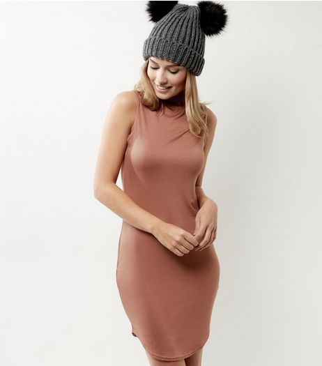 Peach Funnel Neck Curve Hem Bodycon Dress | New Look