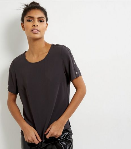 Dark Grey Stud Sleeve T-shirt | New Look