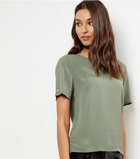Khaki Stud Sleeve T-shirt | New Look