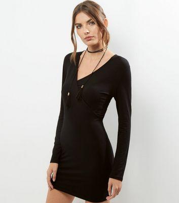 Black V Neck Wrap Front Bodycon Dress