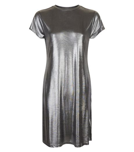 Silver Crew Neck Swing Dress | New Look