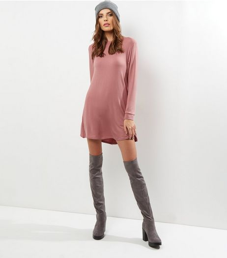 Shell Pink Long Sleeve Swing Dress | New Look