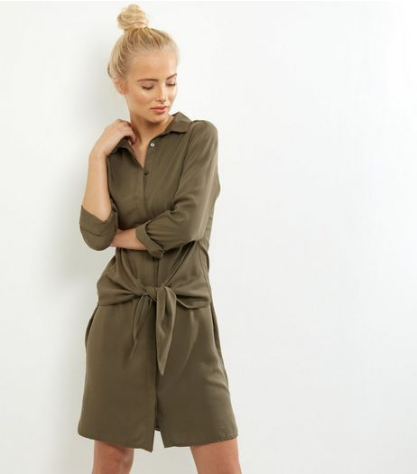 Khaki Tie Front Shirt Dress | New Look