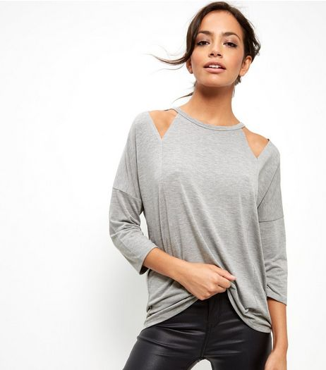 Grey Cut Out Shoulder 3/4 Sleeve Top  | New Look