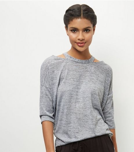 Pale Grey Cut Out Shoulders Top | New Look