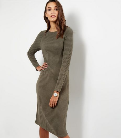 Khaki Ribbed Long Sleeve Midi Dress | New Look