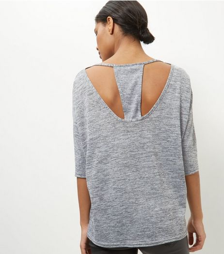 Pale Grey Cut Out Back Top  | New Look