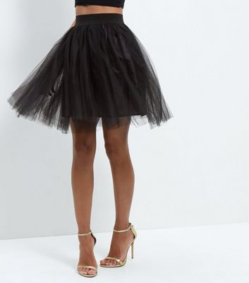 Gonna  donna Cameo Rose Black Tulle Pleated Mini Skirt