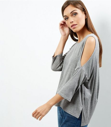 Grey Ribbed Cold Shoulder Top | New Look