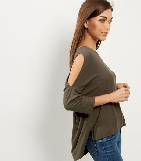 Khaki Ribbed Cold Shoulder Top | New Look