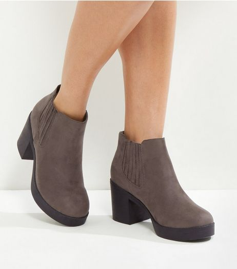 Wide Fit Dark Grey Suedette Contrast Sole Boots | New Look
