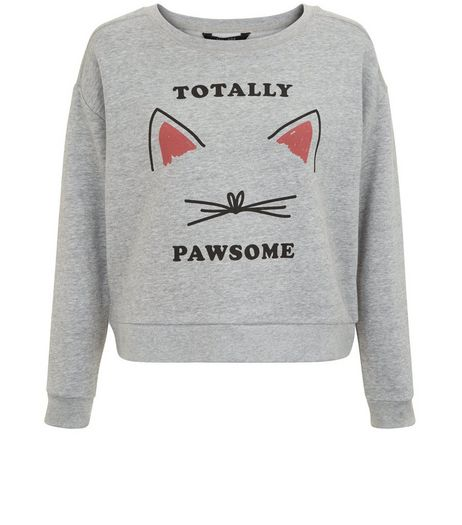 Teens Grey Totally Pawsome Print Sweater | New Look