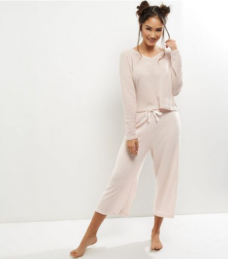 Pink Brushed Culotte Bottoms Pyjama Set  | New Look