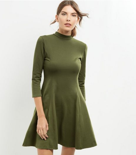 Khaki Funnel Neck 3/4 Sleeve Seam Trim Swing Dress | New Look