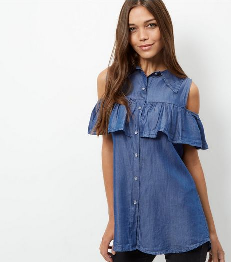 Loving This Blue Frill Trim Denim Shirt  | New Look