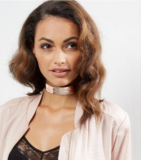 Rose Gold Holographic Choker | New Look