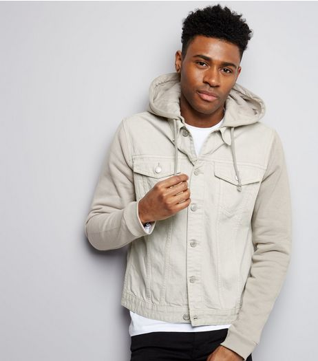 Stone Jersey Sleeve Hooded Denim Jacket | New Look