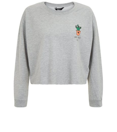 Teens Grey Can't Touch This Cactus Sweater | New Look