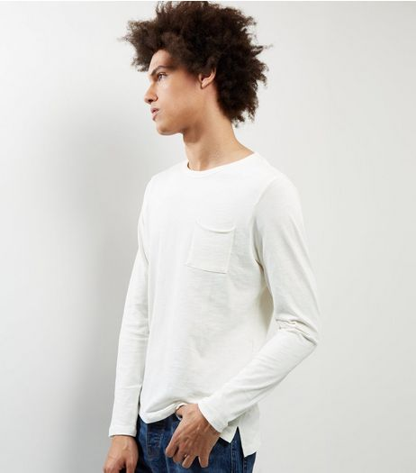 Cream Pocket Front Long Sleeve T-shirt | New Look