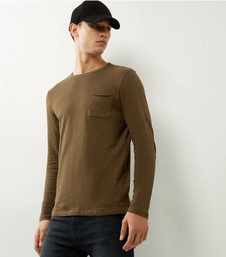 Khaki Pocket Front Long Sleeve T-shirt | New Look
