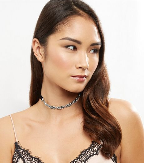 Black Velvet Silver Stone Choker | New Look