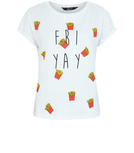 Teens White Fri Yay Print T-Shirt | New Look