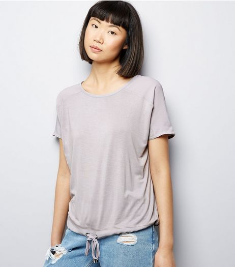Pale Grey Woven Cord Hem T-Shirt | New Look
