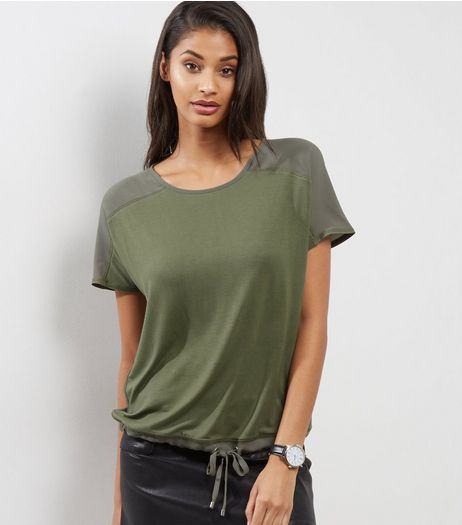 Khaki Contrast Panel Tie Waist T-Shirt  | New Look
