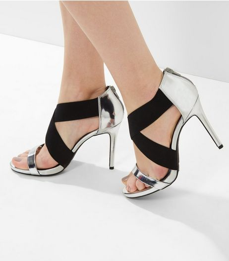 Wide Fit Silver Contrast Elasticated Strap Heels | New Look