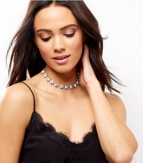 Silver Diamante Choker | New Look