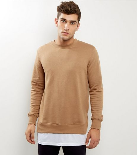 Tan Split Hem Layered Sweater | New Look