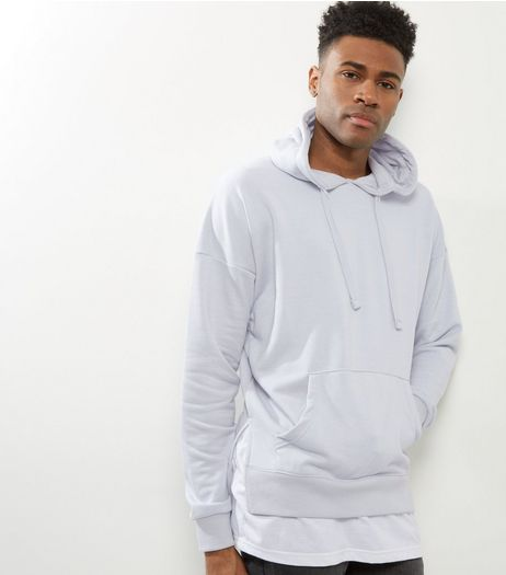 Pale Grey Layered Longline Hoodie | New Look