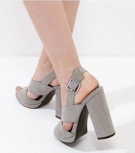 Grey Suedette Cross Strap Platform Heels | New Look