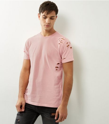 Pink Ripped Split Hem T-shirt  | New Look