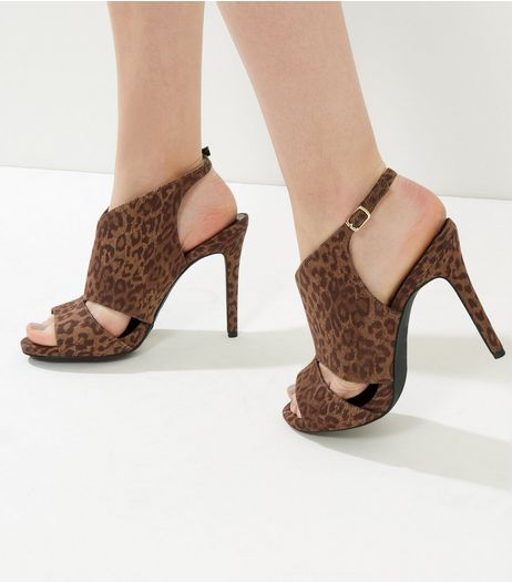 Wide Fit Brown Suedette Leopard Print Cut Out Sling Back Heels | New Look