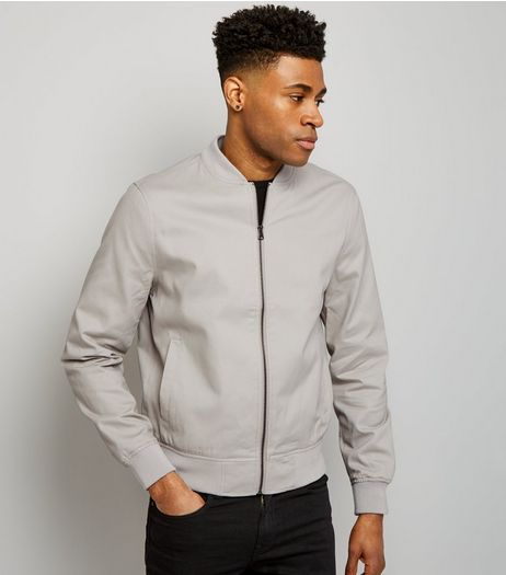 Stone Cotton Bomber Jacket | New Look
