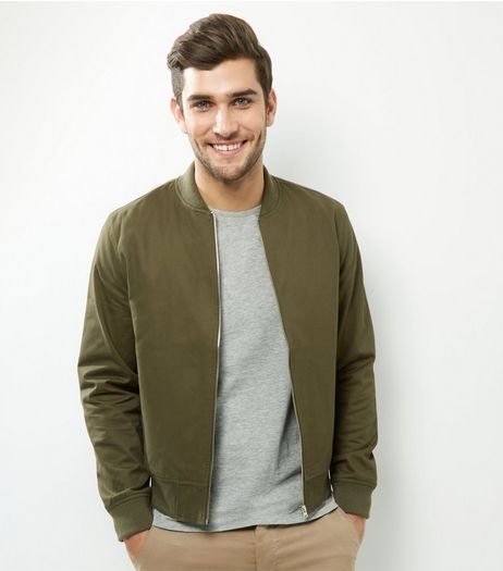 Khaki Cotton Bomber Jacket | New Look